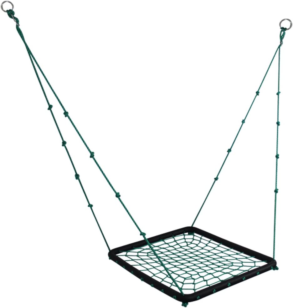 Hi Suyi 40 x 30 Giant Nest Spider Web Net Tree Swing Heavy Duty for Outdoor Garden Backyard with Adjustable Hanging Ropes,Padded Steel Frame,Square Platform Swing Seat,for Kids or Adult,Green