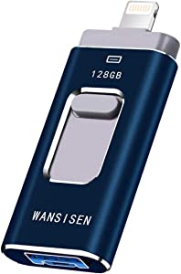 USB Flash Drive 128GB Thumb Drive for iPhone Flash Drive 128g Photo Stick USB3.0 Memory Stick 3in1 USB Stick Wansisen Compatible iPhone/iPad/iPod/MacBook/Android/PC/iOS External Storage(Black128G-XT)