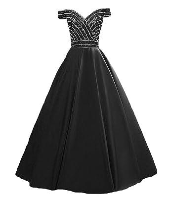 b922e926dc3d HEIMO Women's Sequins V Neck Evening Ball Gown Beaded Prom Formal Dresses  Long H271 0 Black