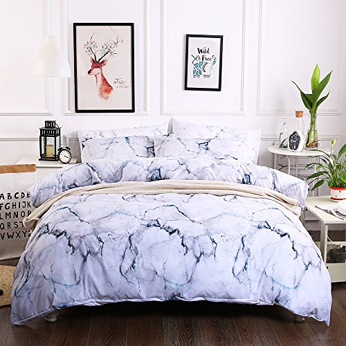 T-shirt Quilt Free Pattern - BeddingHome Jersey Cotton Ultra Soft Marble Patterns Duvet Cover Set 3 Pcs Comforter Cover with 2Pillowcases Lightweight/Breathable-Queen Size