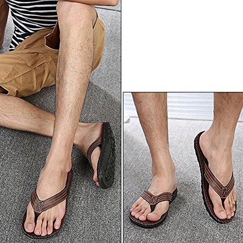 Angelliu Mens Vintage Pu Leater Estate Spiaggia Outdoor Antiscivolo T-strap Infradito Pantofole Marrone