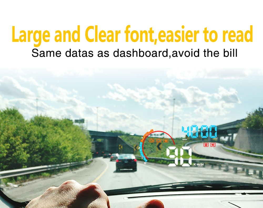 Car Head Up Display, iKiKin 4.0inch OBD II Car Windshield HUD with Speed KM/H MPH, engine RPM, Water Temperature, Voltage, Travel Distance, Travel Time, Fuel Consumption