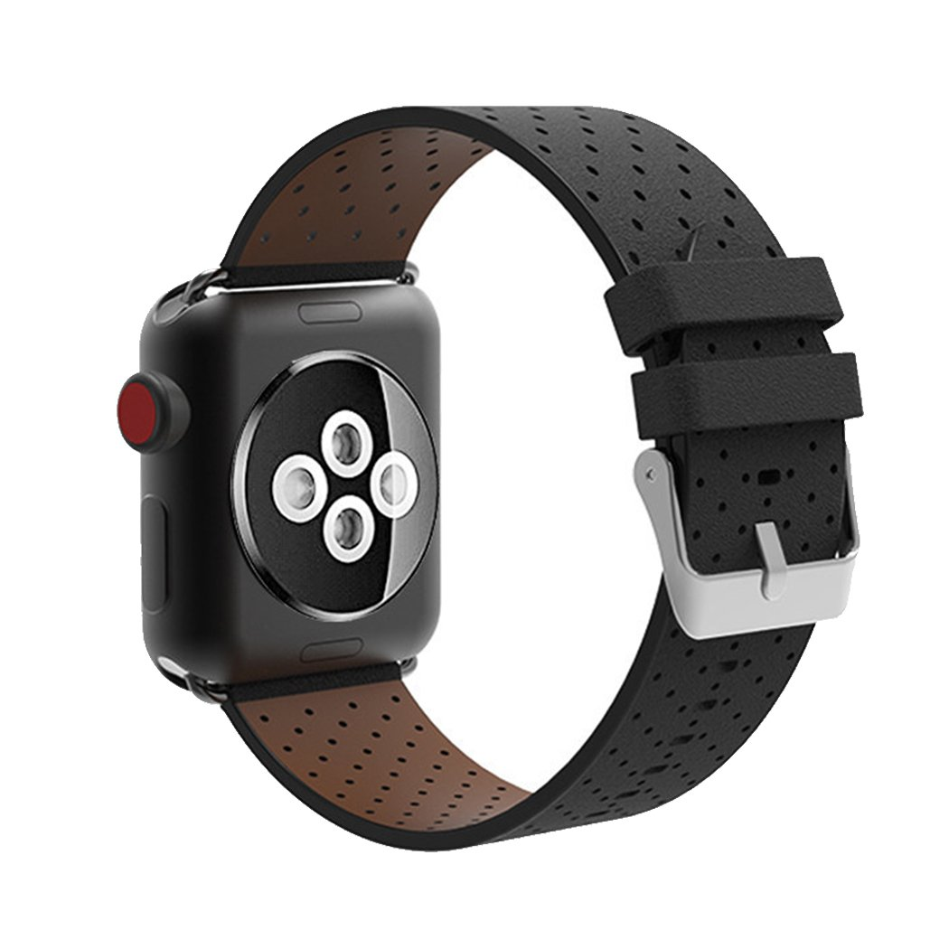 Leather Replacement Band for Apple Watch Band 38mm iwatch Bracelet Mens Womens Black