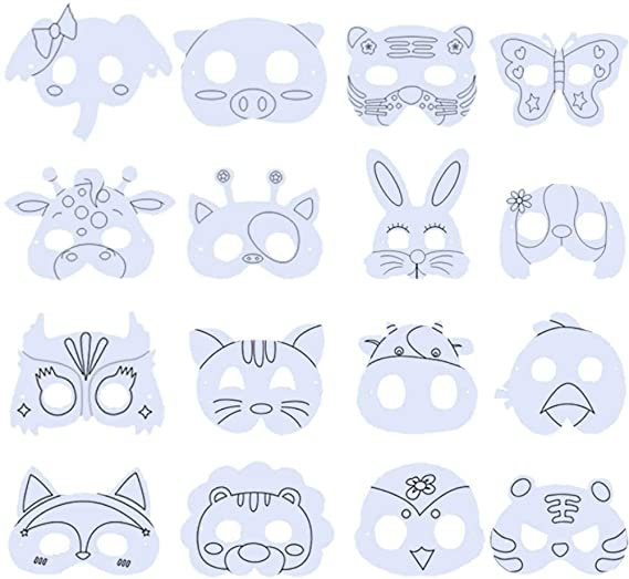 Bestzy Masques Animaux A Colorier Masque A Colorier Pour Enfant Masques Faciaux Avec Corde Elastique Pour Les Enfants A Faire Ou A Decorer 16 Piece Amazon Fr Vetements Et Accessoires