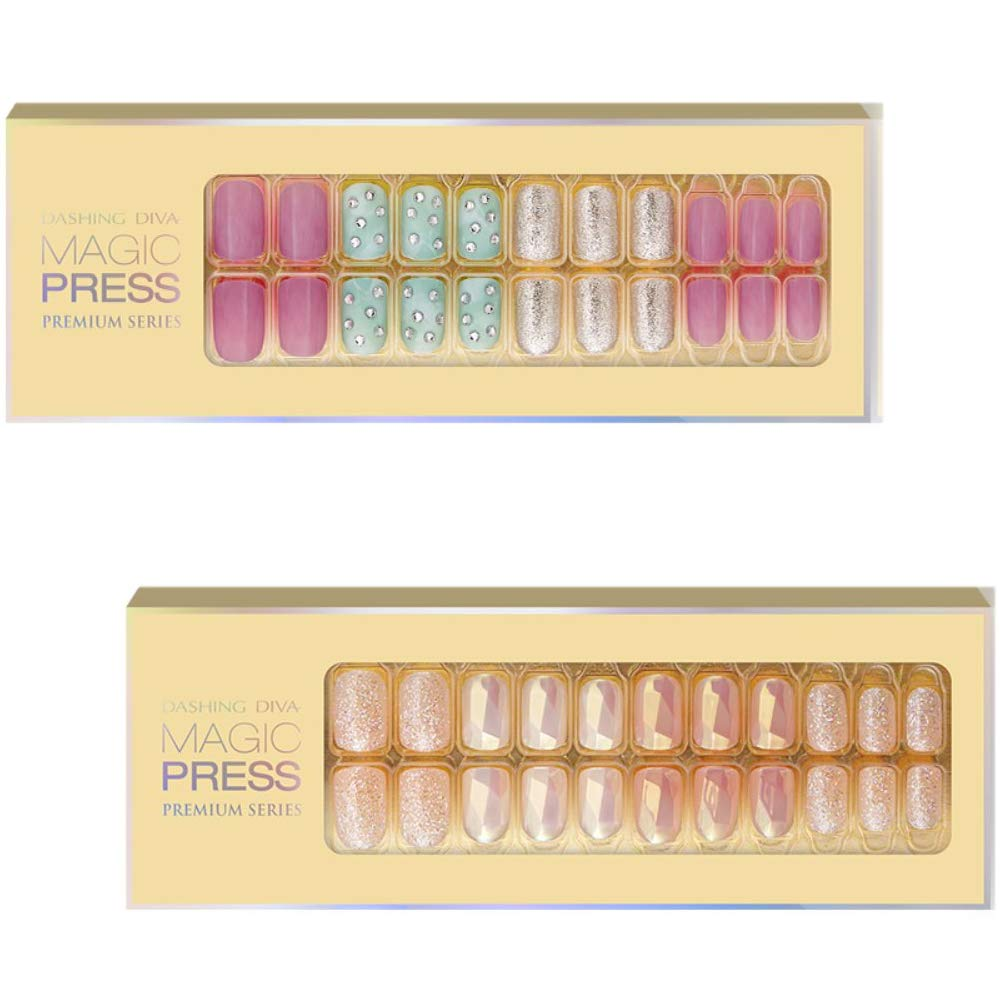 [DASHING DIVA–Nails]Premium Magic Press Super Slim Fit(2 Different Designs30+30strips in 12 sizes) Vintage Pink+Shine on me 267/8ssc