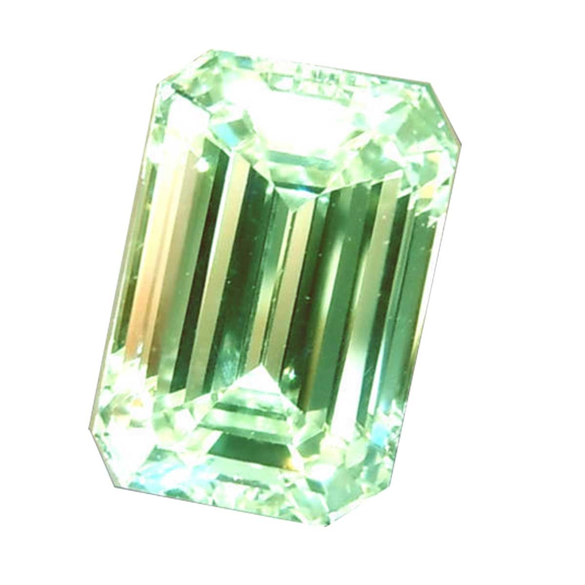 RINGJEWEL 9.67 ct VS2 Loose Moissanite Emerald-Cut Use 4 Pendant/Ring Off White Light Green Color
