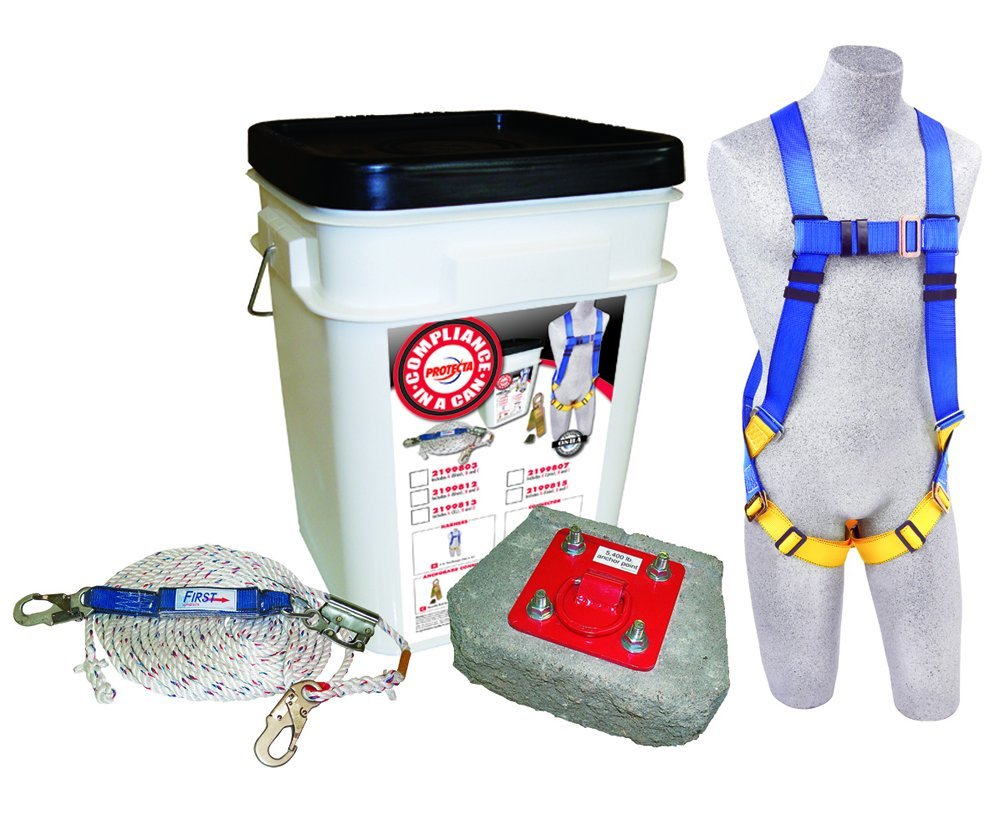 Concrete Anchor Rope Grab White Bucket 50/' Rope Lifeline Capital Safety Roofers Kit 50 Rope Lifeline 5-Point Harness 2199812 3M Protecta Compliance In A Can