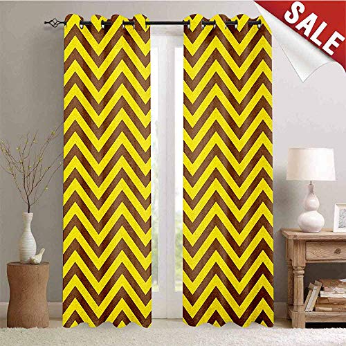 (Yellow Chevron, Blackout Draperies for Bedroom, Vintage Graphic Country Design Classical Tile Old Fashioned Pattern Print, Thermal Insulating Blackout Curtain, W72 x L84 Inch Brown Yellow)