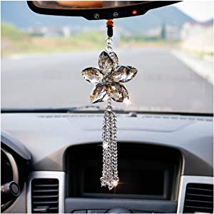 H&D HYALINE & DORA Crystal Car Rear View Mirror Ornament Car Pendant Lucky Crystal Window Hanging Car Accessories Rainbow Maker Gray