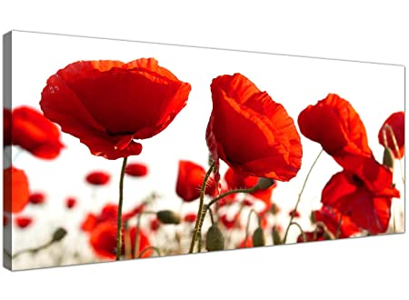 Wallfillers Large Red Canvas Prints of Poppy Flowers - Floral Wall ...