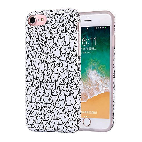 (iPhone 8 Case, Clear Bumper Glossy TPU Soft Rubber Silicone Cover Phone Case [Support Wireless Charging] for Apple iPhone 7 / iPhone 8 (Cute Cats))