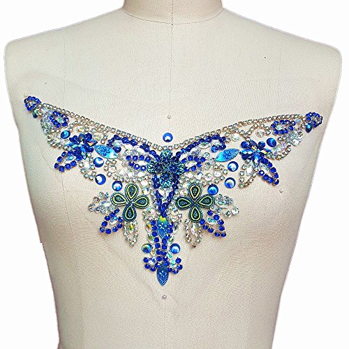 succi shan Handmade Crystal Patches Sew on AB Color Rhinestones Applique Designs with Stones Sequins Beads DIY Sewing for Wedding Dress Trim Decor Accessory 14x33cm Belt Waist Decoration (Blue)