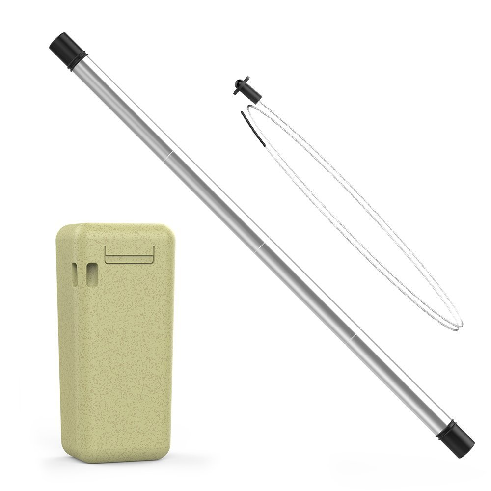Redluckstar Collapsible Reusable Straw with Eco-friendly Wheat Straw Fiber Case Portable Straw Medical-grade TPE Inner Tube Stainless Steel Straw Collapsible Drinking Straw with Cleaning Brush-yellow