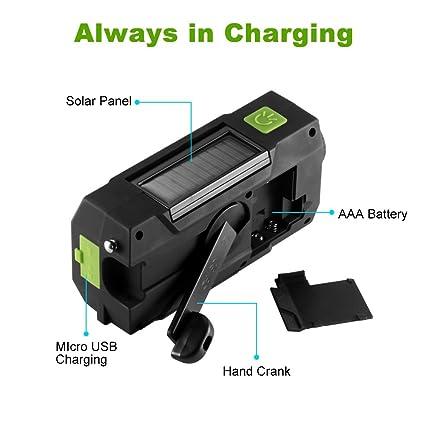 gr/ün tragbar Handkurbel-Radio N33WB-Mehrzweck-Solarbetriebene Funkger/äte mit gro/ßer Kapazit/ät und Taschenlampe f/ür Outdoor-Sport-Notfallwerkzeug