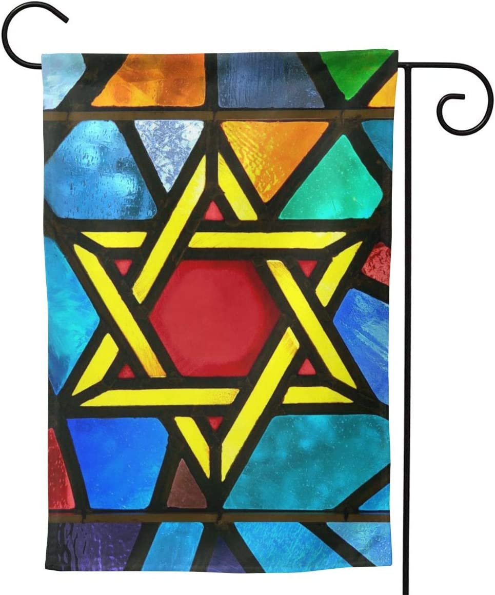 "YISHOW Magen David Star Style Glass Garden Flag Double Sided Vertical Jewish Star of David Hanukkah House Flags Yard Signs Outdoor Decor 12.5""X18"""