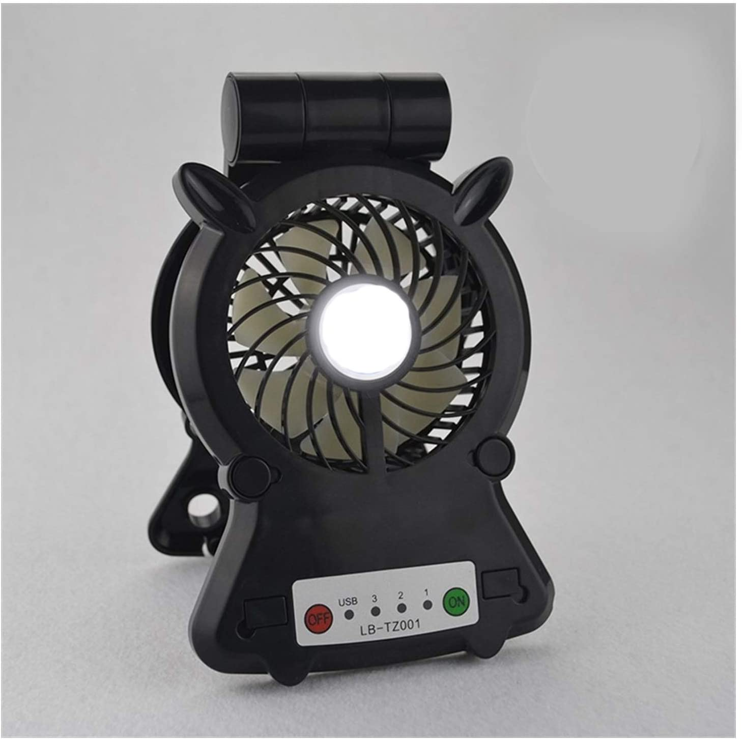 HAIMEI-WU Adjustable Angle Table Fan USB Portable Desktop Round Galvanic Fan Led Promiscuous Phone Holder Fans Home Mini Electric Fan Color : 04