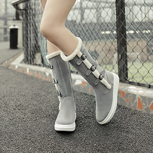 Carolbar Womens Multi Gespen Rits Faux Fur Warm Comfort Fashion Snowboots Grijs