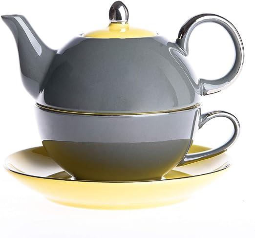 8.6 oz 14 oz Single Serve Teapot with Saucer Stackable Green Glazed Silver Rim and Cup ARTVIGOR 3-Piece Porcelain Tea for One Set