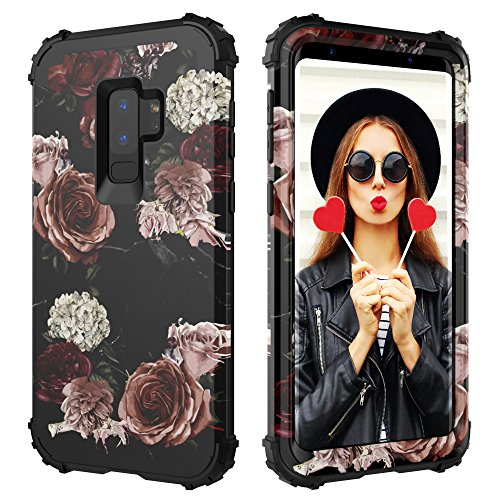 Digital Hutty 3 in 1 Shockproof Heavy Duty Full-Body Protective Cover for Samsung Galaxy S9 Plus 2018 Release Marble Flower
