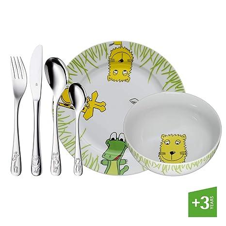 WMF Safari - Vajilla para niños 6 piezas, incluye plato, cuenco y cubertería (tenedor, cuchillo de mesa, cuchara y cuchara pequeña) (WMF Kids ...