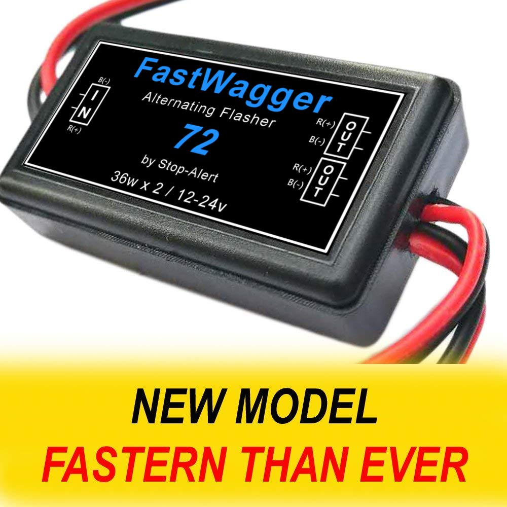 Stop-Alert FastWagger 72 Electronic Wig Wag Alternating Strobe light Flasher Relay Powerful /& Waterproof Emergency Police Ambulance Universal Controller LED /& Incandescent Compatible 12-24V
