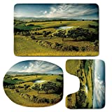 3 Piece Bath Mat Rug Set,Green,Bathroom Non-Slip Floor Mat,Scenic-Scenery-Hilly-Landscape-with-Lake-and-Blue-Cloudy-Sky-Trees-Meadow-Countryside,Pedestal Rug + Lid Toilet Cover + Bath Mat,Green-Blue