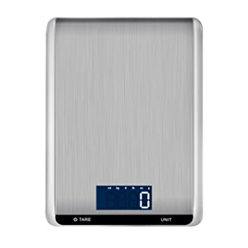 Hotchy Digital Báscula con Pantalla LCD para Cocina de Acero Inoxidable, 5kg/1lbs,Balanza de Alimentos Multifuncional, Peso de Cocina, Color Plata (Baterías ...