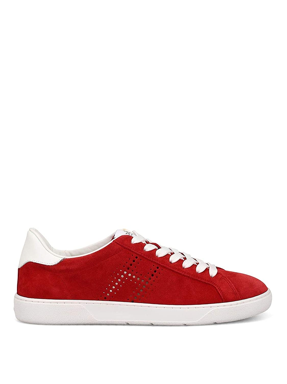 - Hogan Men's GYM3270BT10L6T3260 Red Suede Sneakers