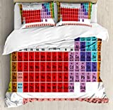 Ambesonne Periodic Table Duvet Cover Set, Kids Children Educational Science Chemistry for School Students Teachers Art, 3 Piece Bedding Set with Pillow Shams, Queen/Full, Multicolor