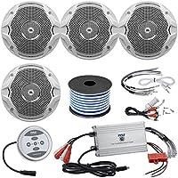 4 X JBL MS6510 150 Watt 6.5 Dual Cone White Marine Audio Speakers With 18 Gauge Stereo Marine Grade Speaker Wire (50 feet) and Marine Grade 1200 Watt Amp Bluetooth 4-Channel Amplifier
