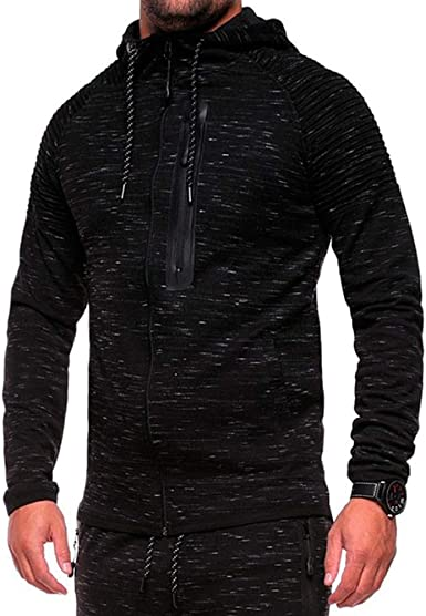 Mens Hooded Classic Long Sleeve Sweater Cotton Top