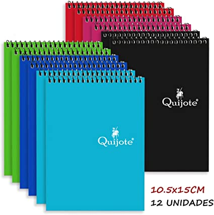 Quijote Paper World Pack 12 Cuadernos Espirales, Interior Cuadros ...