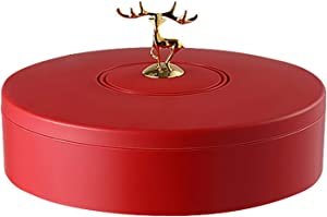 LDDO 10.6Inch Candy and Nut Serving Container Serving Trays with Lid 4 Compartment Round Plastic Candy and Nut Serving Container Food Storage Divided Camping Snack Plate & Dish Platter Red