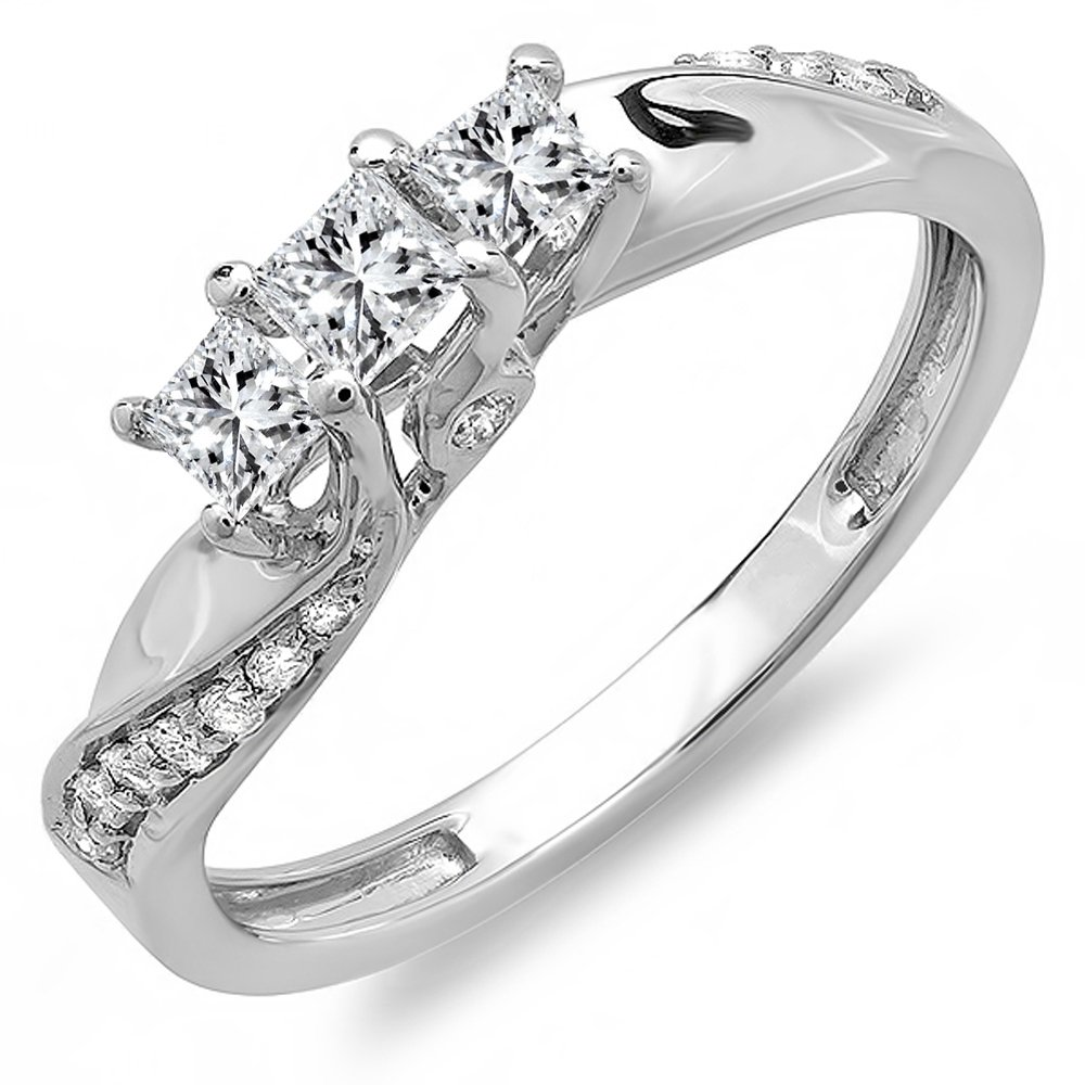Dazzlingrock Collection 0.50 Carat (ctw) 10K Princess & Round Diamond 3 Stone Engagement Ring 1/2 CT, White Gold, Size 6.5