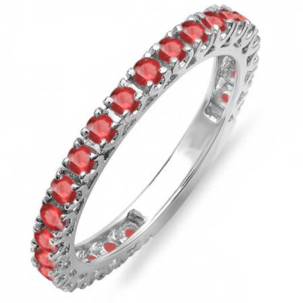 1.10 Carat (ctw) 10K White Gold Ruby Eternity Sizeable Stackable Ring Anniversary Band 1 CT (Size 6.5)