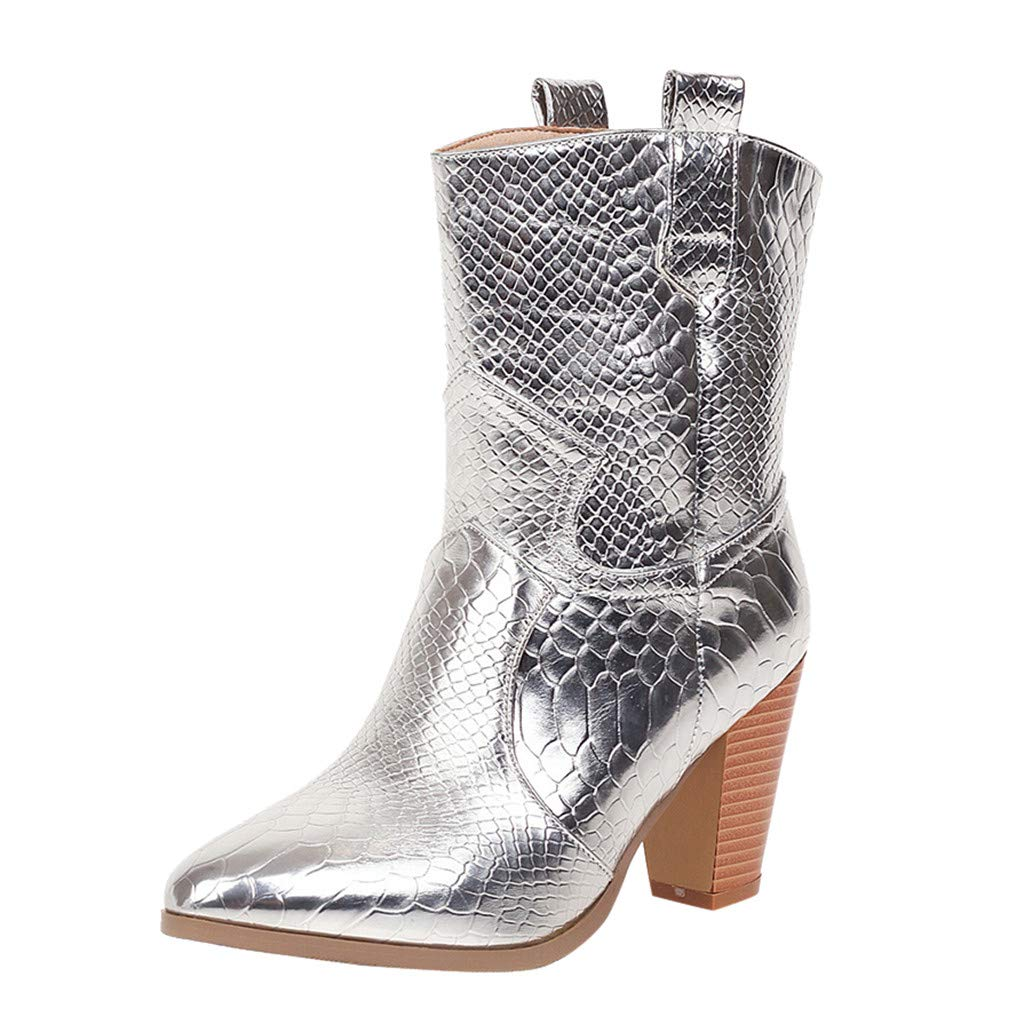 Fheaven Fashion Pointed Toe Wedge Boots Round Toe Slip-On Boots Block Heels Vintage Boots Silver by Fheaven-shoes