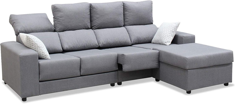 Mueble Sofa Chaiselongue, Subida Domicilio, 4 Plazas, Color Gris, Extensible y Reclinable, ref-126