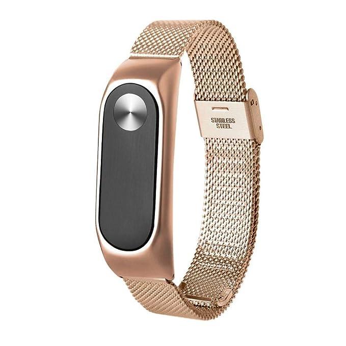 Correas xiaomi Band 2, ☀️Modaworld Pulsera Ligera de Acero Inoxidable de Moda Correa de Reloj Inteligente Correa de Repuesto para Xiaomi MI Band 2 (Oro): ...