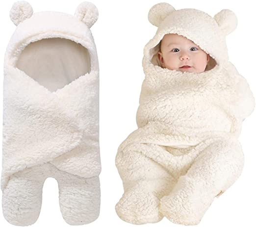Newborn Baby Kid Knit Fleece Teddy Bear Sleeping Bag Hooded Wrap Blacket Swaddle