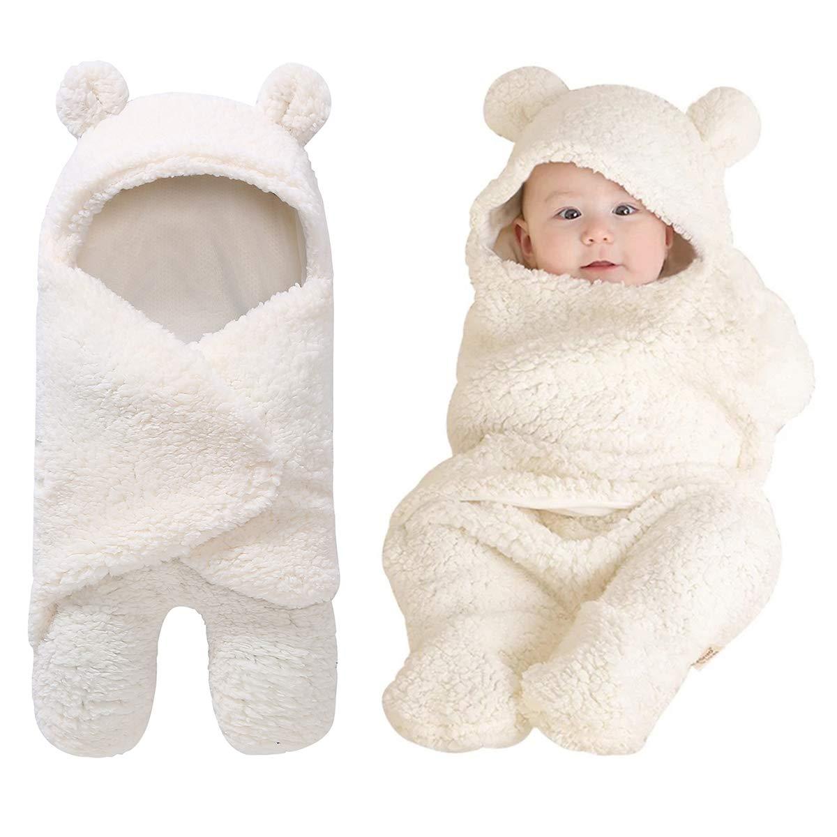 Baby Receiving Blanket, Hooded Cotton Plush Swaddle Blanket, Newborn Cute Sleeping Bag Sack Unisex Stroller Wrap for Baby Boys and Girls (Kahki) oenbopo