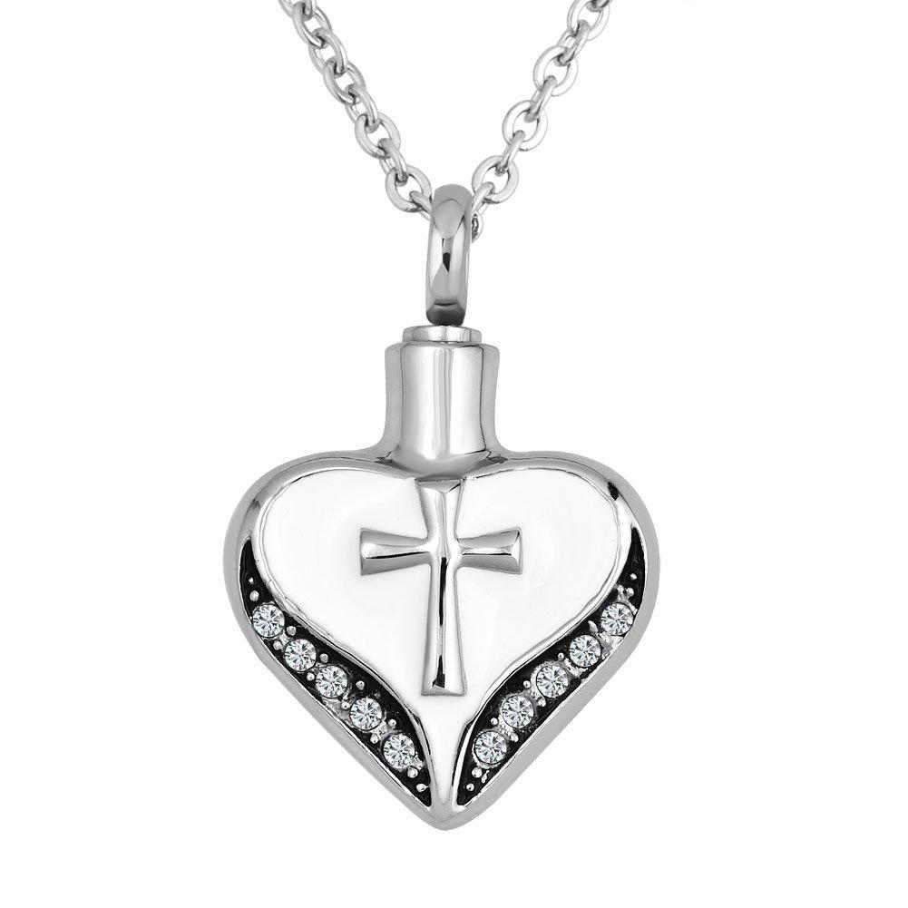 SexyMandala Reglious Cross Love Heart Cremation Jewelry Waterproof Pendant Memorial Stainless Steel Keepsake Ash Urn Necklace by SexyMandala (Image #1)
