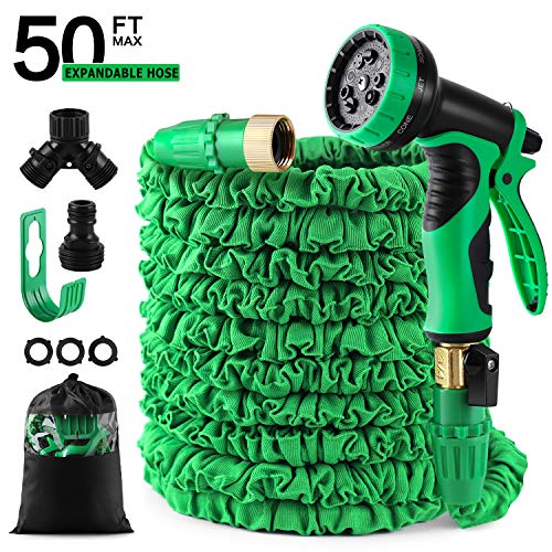 50 feet Expandable Garden Hose, Water Hose, With Triple Layered Latex Core, With 3/4″ Solid Fittings, Hose Splitter/ Hose Quick Connector/Free 9 Function Spray Nozzle, for House/ Car/ Floor/ Yard Wash