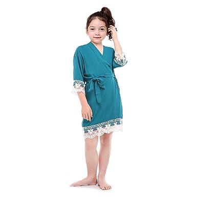 Lilywei Blue Peacock Cotton Lace Flower Kimono Robe Trim Sleeves Girl Bathrobe