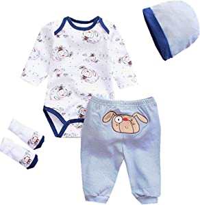 """NPKPINK Reborn Baby Dolls Boy Clothes Lovely Outfits 4 Piece Set for 20""""- 22"""" Reborn Dolls Newborn Matching Clothing Accessories"""