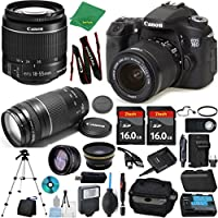 Canon EOS 70D Camera + 18-55mm IS STM + 75-300mm III + 2pcs 16GB Memory + Case + Memory Reader + Tripod + Starter Set + Wide Angle + Tele + Flash + Battery + Charger - International Version