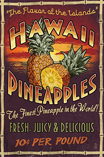 Hawaiian Pineapple Vintage Sign Art Print, Wall Decor Travel Poster