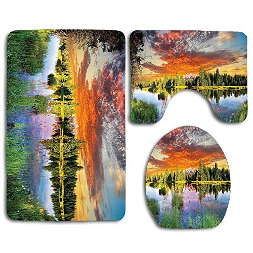 - EnmindonglJHO Calm Natural Sunrise by River Forest Trees Clouds Weeds Sunlight Reflection on Water Bath Mat Bathroom Carpet Rug Non-Slip 3 Piece Toilet Mat Sets