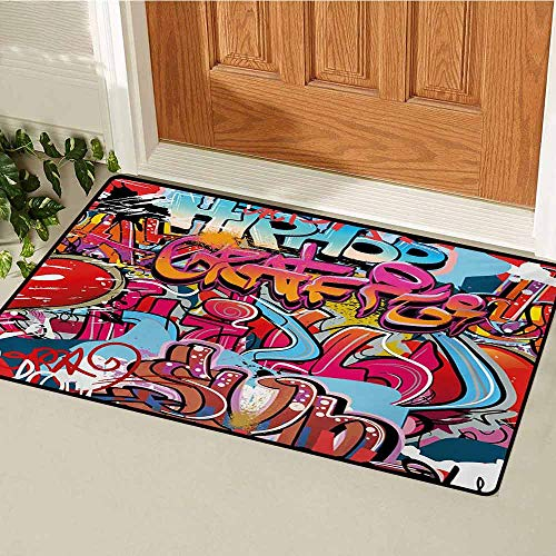 GUUVOR Graphic Front Door mat Carpet Hip Hop Street Culture Harlem New York City Wall Graffiti Art Spray Artwork Image Machine Washable Door mat W19.7 x L31.5 Inch Multicolor -