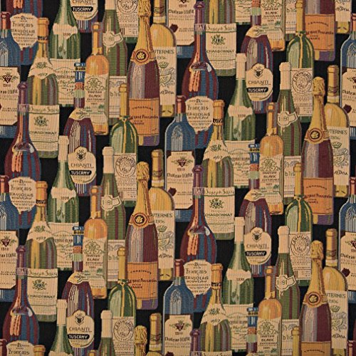 A009 French and Italian Wine Bottles Themed Tapestry Upholstery Fabric by The - Upholstery Tapestry Fabric