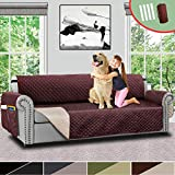 Vailge Oversize Reversible Sofa Cover, Extra Large Sofa Slipcover With 2' Strap/Pocket, Extra Width Up to 78', Furniture Protector Machine Washable, Couch Covers for Dog(Oversize Sofa:Chocolate/Beige)